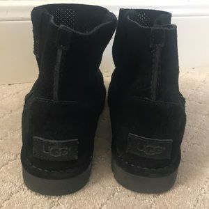 Ugg black leather perforated ankle boot